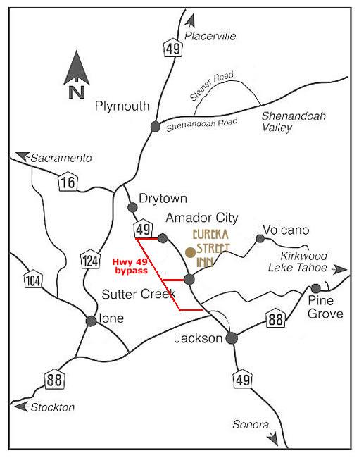 map of sutter creek and eureka street inn